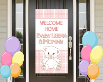 Welcome Home Baby Door Banner, Personalized Baby Bear Girl Party Banner, It's a Girl Welcome Banner, Welcome Home Baby Banner, Printed