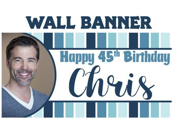 Ombre Birthday Photo Banner ~ Personalized Party Banners - Large Birthday Banner, 40th Birthday Banner, 50th Birthday Banner, Printed Banner