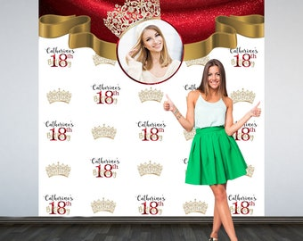 18th Birthday Personalized Photo Backdrop - Royal Crown Party Photo Backdrop, Printed Vinyl Backdrop, 16th Birthday Photo Booth Backdrop