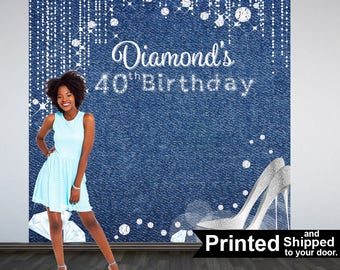 Denim & Diamonds Photo Backdrops, 40th BIrthday Party Backdrop, Personalized Phot Backdrops, Custom Backdrop, Printed Vinyl Backdrop