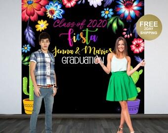 Graduation Photo Backdrop | Fiesta Photo Backdrop | Class of 2020 Photo Backdrop | Congrats Grad Photo Backdrop | Mexican Theme Backdrop