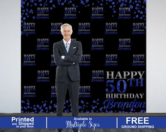 50th Birthday Personalized Photo Backdrop, 40th Birthday Photo Backdrop, Blue Sparkle Photo Backdrop, Step and Repeat Backdrop, Printed