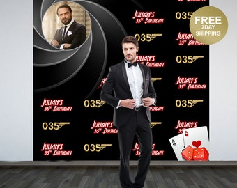 Secret Agent Party Personalized Photo Backdrop | Double Agent Step & Repeat Photo Backdrop | Birthday Photo Backdrop, 30th Birthday Backdrop