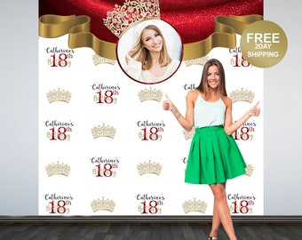 18th Birthday Personalized Photo Backdrop | Royal Crown Party Photo Backdrop | Birthday Backdrop | 16th Birthday Photo Booth Backdrop