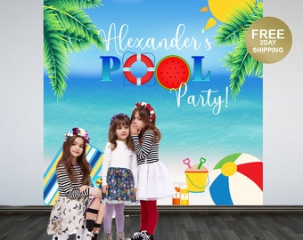 Pool Party Personalized Photo Backdrop | Summer Photo Backdrop | Tropical Birthday Party Backdrop | Beach Party Backdrop | Printed Backdrop