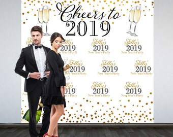 Cheers to a New Year Photo Backdrop -2019 Celebration Photo Backdrop- Holiday Party Photo Backdrop, Happy New Year Party Backdrop, Printed