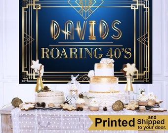 Roaring 20's Personalized Backdrop - Birthday Cake Table Backdrop, Great Gatsby Backdrop - Custom Backdrop, 40th Birthday Backdrop, Printed