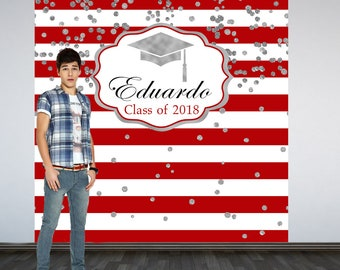 Graduation Personalized Photo Backdrop, Red and White Stripes Photo Backdrop, Class of 2019 Photo Backdrop, Photo Booth Backdrop, Congrats