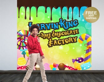 Chocolate Factory Photo Backdrop | Candy Land Photo Backdrop | Birthday Photo Backdrop | Printed Backdrop | Birthday Backdrop | 1st Birthday
