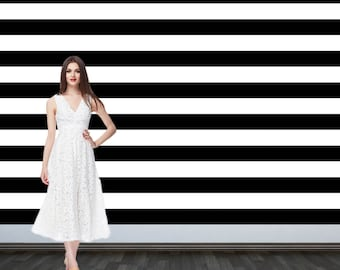Custom Personalized Photo Backdrop - Party Backdrop Birthday-  Photo Backdrop - Step and Repeat Backdrop - Black and White Stripes Backdrop