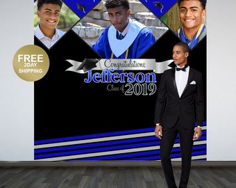 Graduation Backdrop | Congrats Grad Personalized Backdrop | Class of 2019 Photo Backdrop | Photo Booth Backdrop | Printed Photo Backdrop