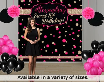 Glamourous Birthday Dots Personalized Photo Backdrop -Milestone Photo Backdrop- Sweet 16th Photo Booth Backdrop, Custom Backdrop, Polka Dots