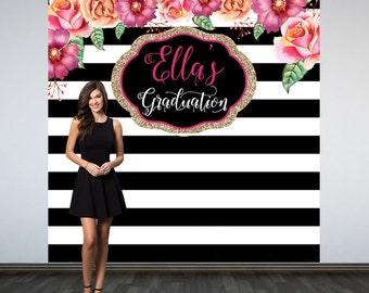 Graduation Personalized Photo Backdrop, Black & White Stripes Photo Backdrop, Birthday Photo Backdrop, Photo Booth Backdrop, Class of 2019