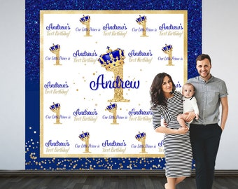 Royal 1st Birthday Party Personalized Photo Backdrop - Royal Prince Birthday Photo Backdrop- Step and Repeat Photo Backdrop, Little Prince