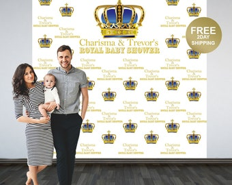 Royal Baby Shower Photo Backdrop | First Birthday Prince Step & Repeat Photo Backdrop | Photo Booth Personalized Backdrop, Printed Backdrop