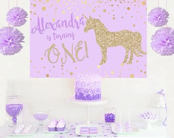 Unicorn Glitter Personalized Party Backdrop - First Birthday Cake Table Backdrop Birthday- Baby Shower Backdrop, Lilac and Gold Unicorn