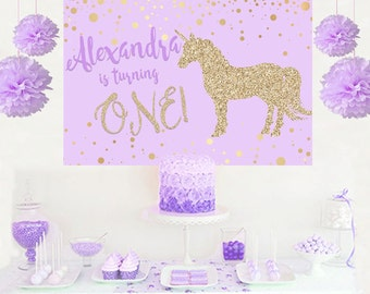 Unicorn Glitter Personalized Party Backdrop - First Birthday Photo Backdrop - Baby Shower Backdrop, Unicorn Backdrop, Printed Backdrop