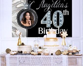 Fabulous 40 Personalized Backdrop, Birthday Cake Table Backdrop, Silver Marble Backdrop - Birthday Photo Backdrop, 40th Birthday Backdrop
