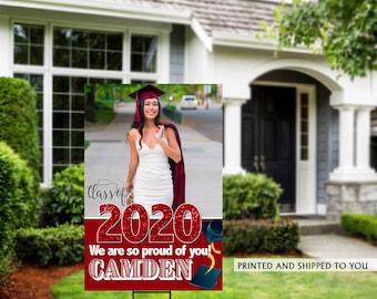 Class of 2020 Graduation Photo Yard Sign | Grad Party Welcome Sign | Welcome Sign Congrats | Red Graduation Yard Sign | Congrats Grad Sign