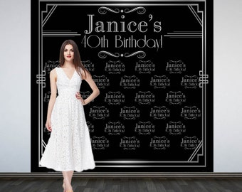 Roaring 20's Party Personalized Photo Backdrop -Art Deco Step and Repeat Photo Backdrop- Birthday Photo Booth Backdrop, Gatsby Backdrop