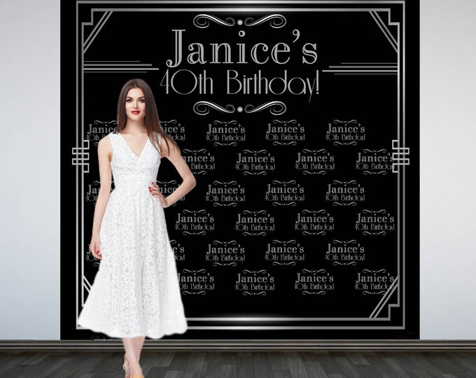 Featured listing image: Roaring 20's Party Personalized Photo Backdrop -Art Deco Step and Repeat Photo Backdrop- Birthday Photo Booth Backdrop, Gatsby Backdrop