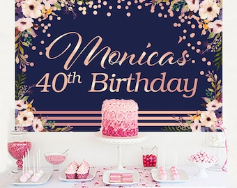 Pink Floral Personalized Backdrop, Birthday Cake Table Backdrop - 40th Birthday Photo Backdrop, 50th Birthday Backdrop, Rose Gold and Navy