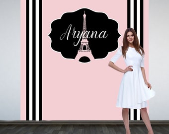 Paris Bridal Shower Personalized Photo Backdrop, Party Photo Backdrop, Sweet 16 Photo Backdrop, Photo Booth Backdrop, Printed Vinyl Backdrop