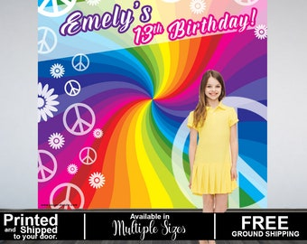 Retro Party Personalized Photo Backdrop - Birthday Photo Backdrop - 13th Birthday Photo Backdrop- Hippie - 60's Printed Party Backdrop