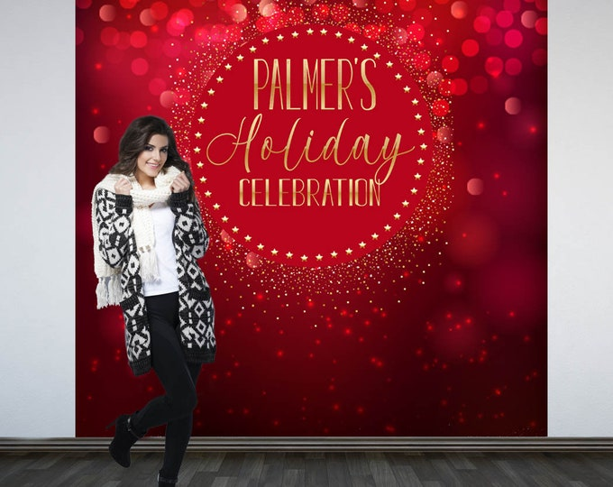Featured listing image: Red Sparkle Holiday Party Photo Backdrop - Christmas Photo Backdrop- Holiday Party Photo Backdrop, Holiday Printed Party Backdrop