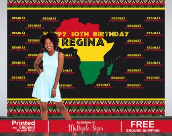 African Step and Repeat Personalized Photo Backdrop - Tribal Party Photo Backdrop- 30th Birhday Photo Backdrop, Printed Birthday Backdrop
