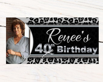 Cheetah Print 40th Photo Banner  ~ Personalized Banner Party Banners - Animal Print Birthday Banner, Printed Banner, 50th Birthday Banner