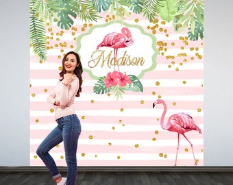 Pink Flamingo Party Photo Backdrop -Flamingo Personalized Photo Backdrop- Summer Birthday Party Backdrop - Tropical Birthday Backdrop