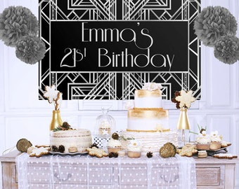 Roaring 20's Personalized Backdrop - Silver Birthday Cake Table Backdrop, Art Deco Photo Backdrop, Custom Party Backdrop