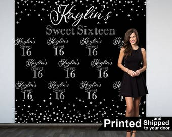 Sweet 16th Personalized Photo Backdrop, Birthday Party Photo Backdrop- Custom Party Photo Backdrop, 16th Birthday Backdrop, Printed Backdrop