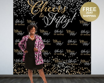 Cheers to Fifty Personalized Photo Backdrop | Silver and Gold Sparkle Photo Backdrop | 50th Birthday Backdrop | Party Backdrop - Photo Booth