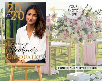 Class of 2020 Graduation Photo Welcome Sign - Grad Party Welcome Sign - Welcome Sign Congrats, Foam Board Sign, Graduation Canvas Party Sign