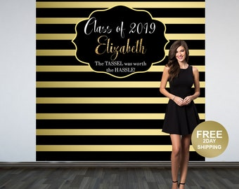 Graduation Photo Backdrop, Personalized Photo Backdrop- Printed Class of 2019 Photo Backdrop- Black and Gold Stripes Photo Backdrop
