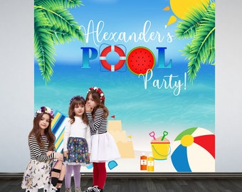 Pool Party Personalized Photo Backdrop -Summer Photo Backdrop- Tropical Birthday Party Backdrop - Beach Party Birthday Backdrop, Printed