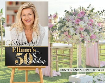50th Birthday Photo Welcome Sign - Welcome to the Party Sign, Golden Birthday Welcome Sign, Foam Board Welcome Sign, Printed Welcome Sign