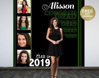 Congrats GRAD Personalized Photo Backdrop -Green Photo Strip Photo Backdrop- Class of 2019 Photo Backdrop - Graduation Photo Booth Backdrop