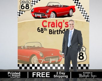 Vintage Car Personalized Photo Backdrop | Corvette Photo Backdrop |  Birthday Photo Booth Backdrop | 60th Birthday | 50th Birthday Backdrop