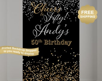 50th Birthday Personalized Photo Backdrop - Cheers to 50 Photo Backdrop-  Photo Backdrop - Printed Photo Booth Backdrop, Vinyl Backdrop