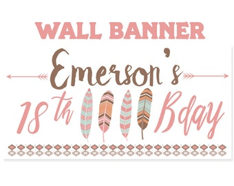 Tribal Birthday Banner ~ 16th Birthday Personalized Party Banners - Feathers & Arrows Photo Banners, Printed Banners, Boho Banner - Birthday
