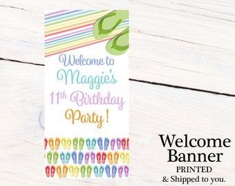Flip Flop Welcome to the Party Banner  ~ Personalized Custom Party Banner - Summer Fun Party Banner, Welcome to the Party Banner, Tropical