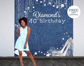 Denim & Diamonds Photo Backdrop | 40th Birthday Backdrop | Personalized Photo Backdrop | Custom Backdrop | Printed Vinyl Backdrop | Birthday