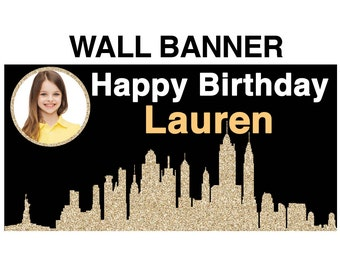 New York City Theme Photo Banner ~ Personalized Party Banners - Birthday Party Banner - In the City Party Banner - 16th birthday Banner