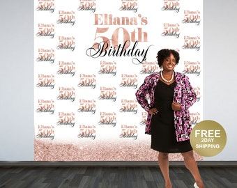 Rose Gold 50th Birthday Personalized Photo Backdrop, Party Photo Backdrop, Printed Vinyl Backdrop, 60th Birthday Backdrop, Birthday Backdrop
