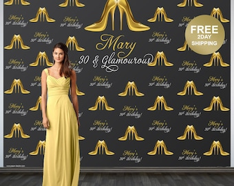 Stepping into 30 Personalized Photo Backdrop | 30th Birthday Photo Backdrop | Step and Repeat Photo Backdrop | Gold Heels Photo Backdrop