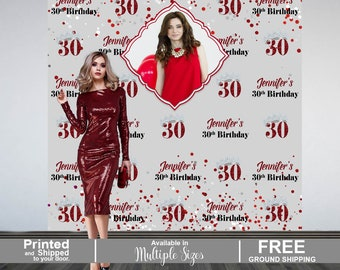 30th Birthday Personalized Photo Backdrop, Red Confetti Photo Backdrop, Birthday Photo Backdrop, Princesss Photo Backdrop, Vinyl Backdrop