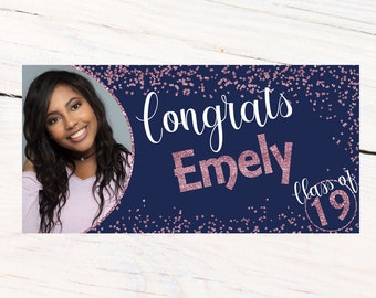 Class of 19 Graduation Photo Banner ~ Personalized Party Banners, Congratulations Banner, Congrats Grad Banner, Class of 2019, Rose and Navy